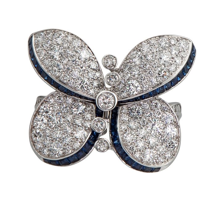 Graff Princess Butterfly Ring with Sapphires And White Round Diamonds