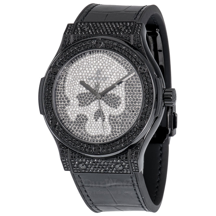Classic Fusion Black Skull Full Pave 45mm Mens Watch
