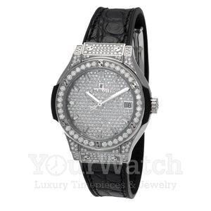 Hublot Classic Fusion Quartz Full Diamond Case 33mm Ladies Watch 581.NX.9010.LR.1704