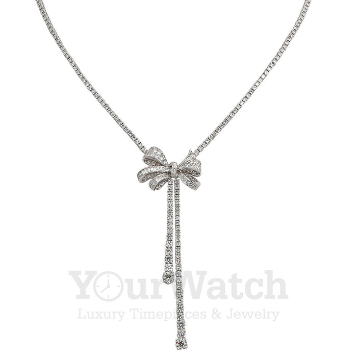 Graff White Round Diamond Graduated Double Strand Knot Necklace with Bow Motif