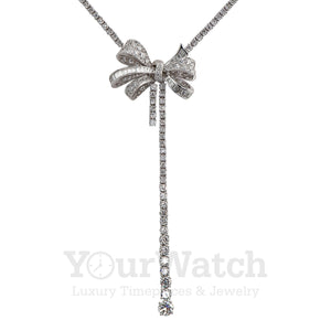 Graff White Round Diamond Graduated Double Strand Knot Necklace with Bow Motif - RGN461
