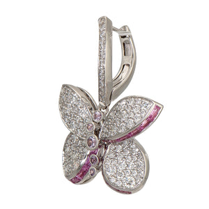 Graff-Graff Baby Princess Butterfly Earrings With Diamonds And Pink And Purple Sapphires-RGE1184-$7600.00