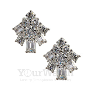 Graff White Emerald Cut and Round Diamond Earrings RGE1251