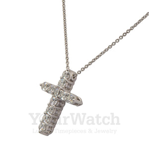Graff Medium White Round Diamond Cross Pendant On a Chain RGP006