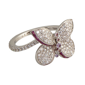 Graff Butterfly Ring with Diamonds and Pink and Purple Sapphires