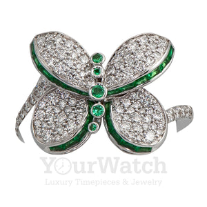 Graff Baby Princess Butterfly Ring With White Diamond Pave and Emeralds RGR560