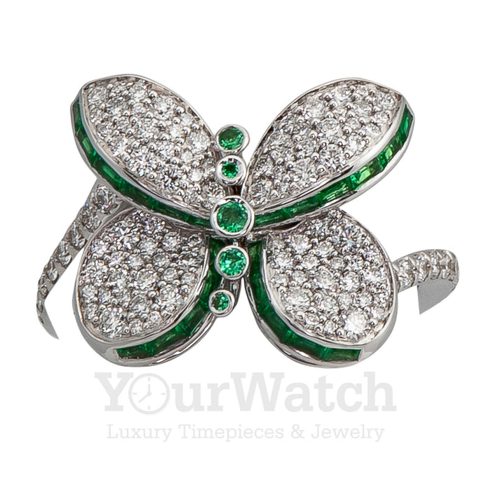 Graff-Graff Baby Princess Butterfly Ring With White Diamond Pave and Emeralds-RGR560-$5250.00
