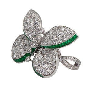 Graff Butterfly Ring with Emeralds And Diamonds
