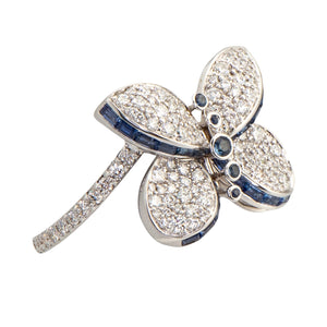 Graff Butterfly Ring With Diamonds and Sapphires