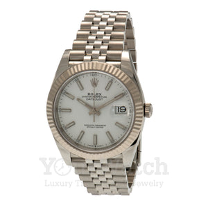 Rolex Datejust Stainless Steel Bracelet White Dial 41mm Mens Watch