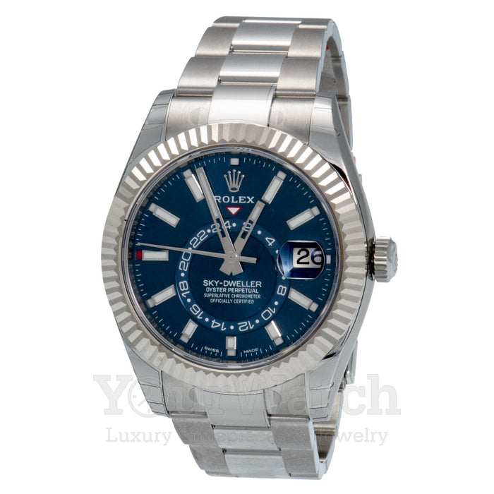 Rolex Sky Dweller White Gold Stainless Steel Blue Dial 42mm Mens Watch