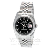 Rolex-Rolex Datejust Stainless Steel Black Dial 36mm Watch - Pre Owned-116200-$10000.00
