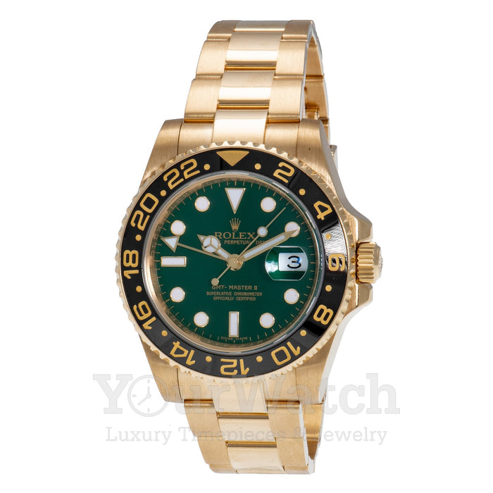 Rolex GMT Master II Yellow Gold Anniversary Green Dial 40mm Mens Watch - Pre Owned