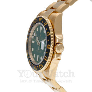 Rolex 116718LN GMT Master II Yellow Gold Green Dial 40mm Mens Watch