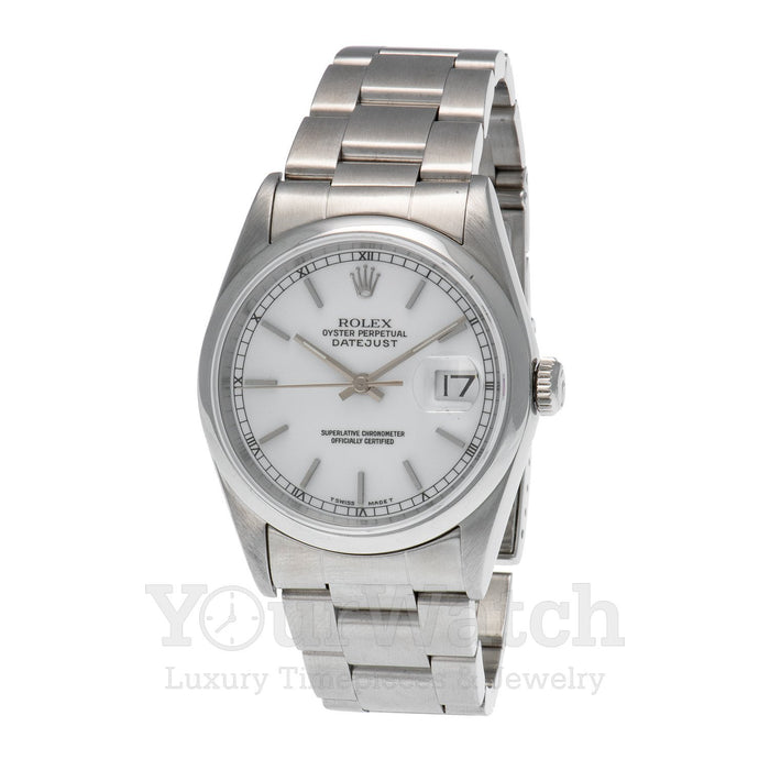 Rolex-Rolex Datejust Stainless Steel White Dial 36mm Watch-16200-$0.00
