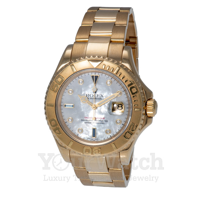 Rolex Yacht Master Yellow Gold White Dial 40mm Mens Watch - Pre Owned