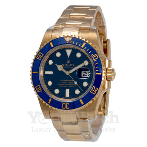 Rolex Submariner Yellow Gold Blue Dial 40mm Mens Watch