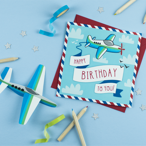 Happy Birthday To You card, with cut out plane
