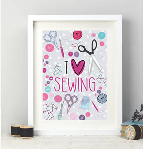 I Love Sewing A4 Print - Two For Joy Illustration