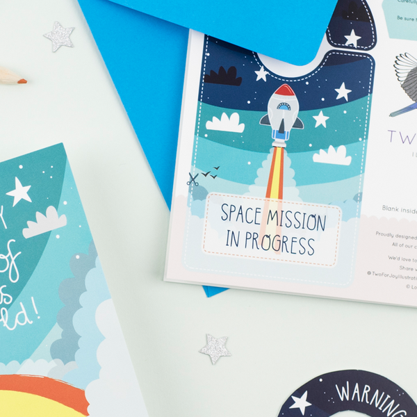 Space Themed Birthday Card with Cut out crafty activity - Two For Joy Illustration