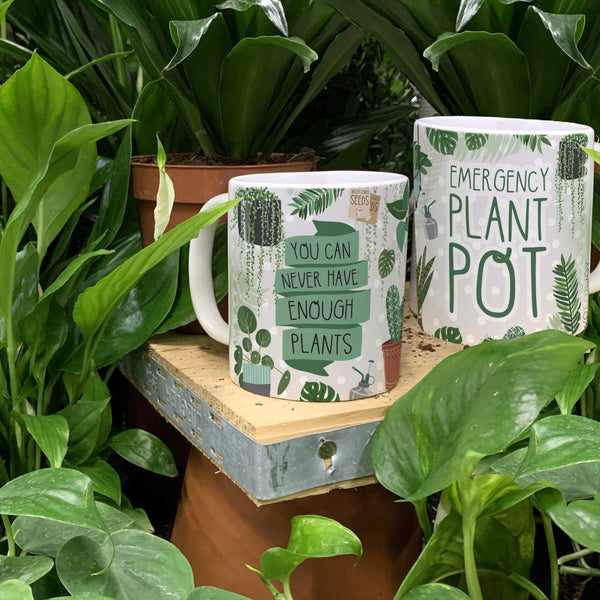 Plant Lover Mug - You Can Never Have Enough Plants - Emergency Plant Pot - Green Thumbed Gift - Two For Joy Illustration