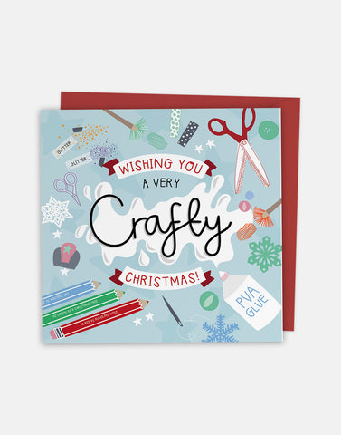 Wishing you a Crafty Christmas - Christmas Greeting Card with Cut-Out Crafty Activity - Two For Joy Illustration