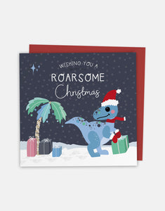 Have a Roarsome Christmas - Christmas Greeting Card with Cut-Out Crafty Activity - Two For Joy Illustration