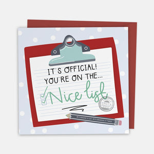 Nice List - Christmas Greeting Card with Cut-Out Crafty Activity - Two For Joy Illustration