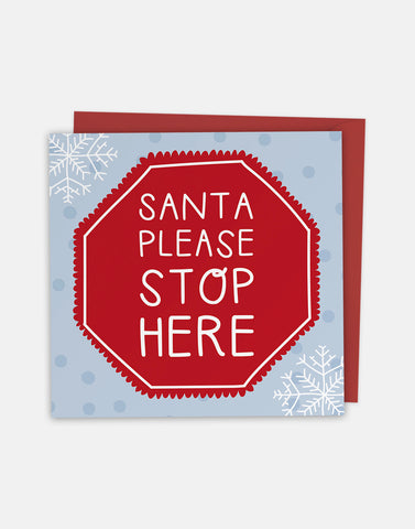 Santa Stop Here - Christmas Greeting Card with Cut-Out Crafty Activity - Two For Joy Illustration