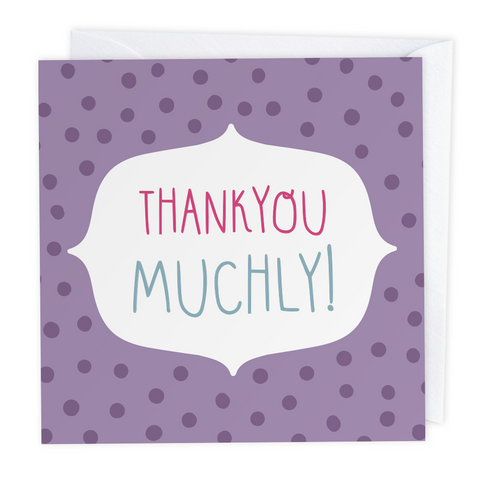 Thankyou Muchly! Polkadot Greeting Card - Two For Joy Illustration