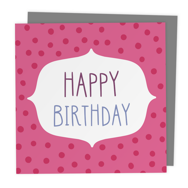 Happy Birthday Polkadot Greeting Card - Two For Joy Illustration
