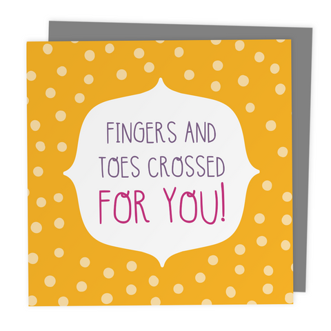 Fingers and Toes Crossed for you! Polkadot Greeting Card - Two For Joy Illustration