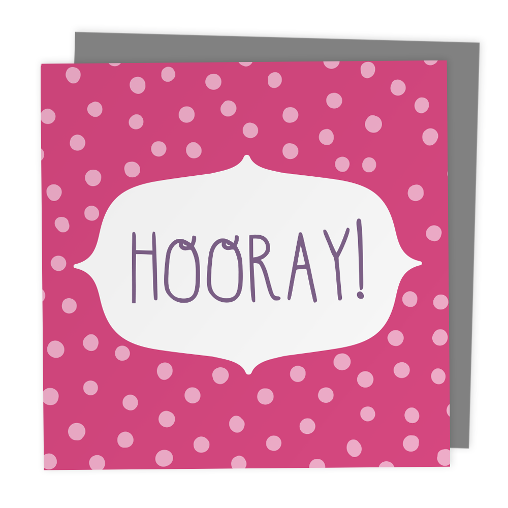 Hooray! Polkadot Greeting Card - Two For Joy Illustration