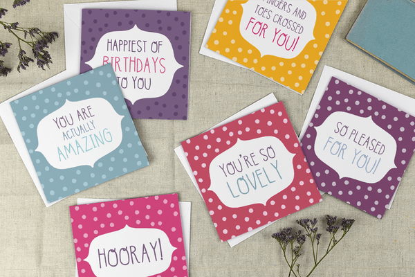 Best of Luck! Polkadot Greeting Card - Two For Joy Illustration