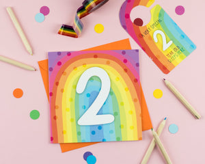 Two year old birthday card with Cut out crafty activity - Two For Joy Illustration