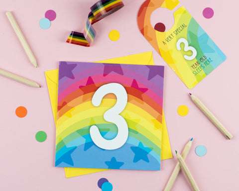 Three year old birthday card with Cut out crafty activity - Two For Joy Illustration