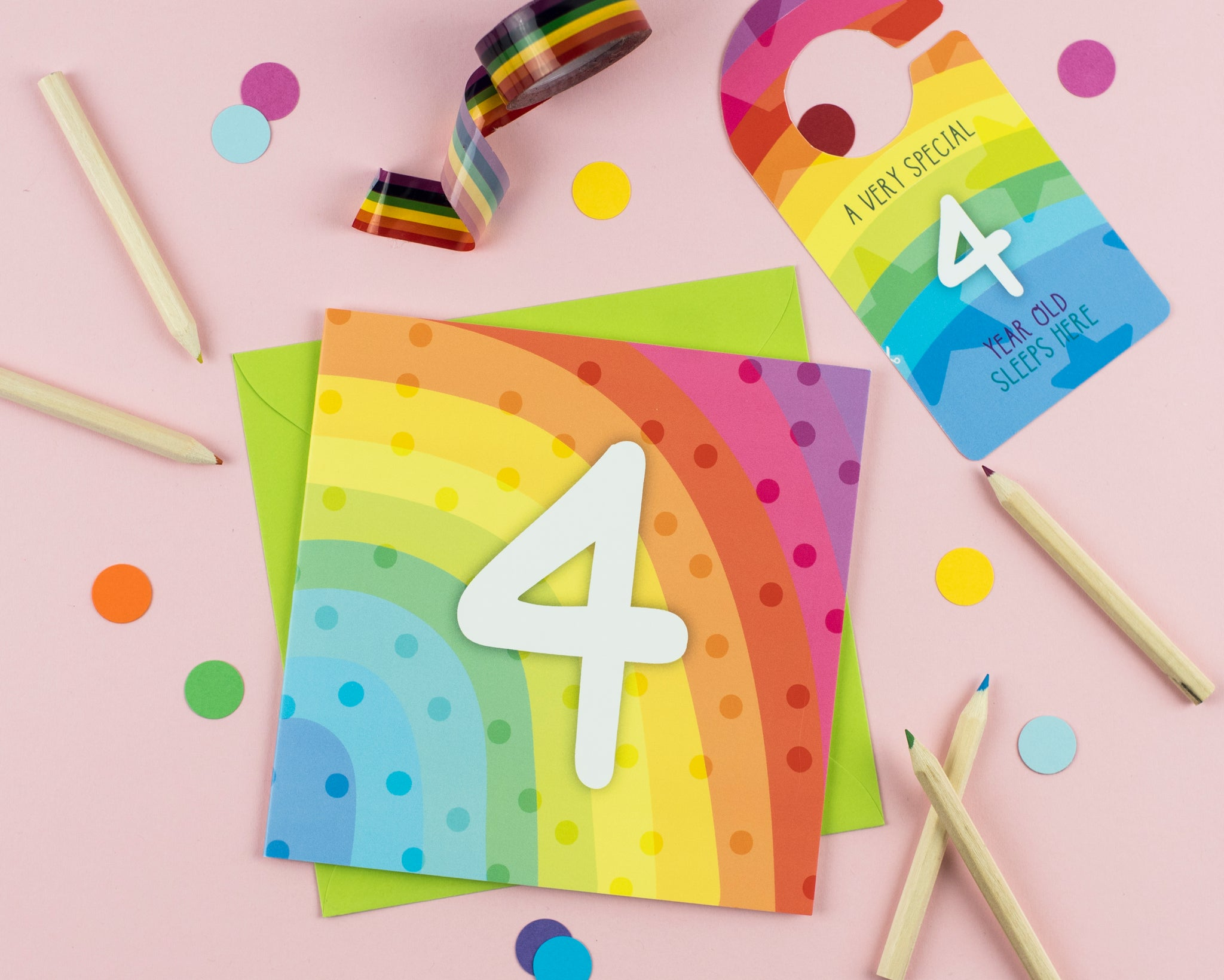 Four year old birthday card with Cut out crafty activity - Two For Joy Illustration