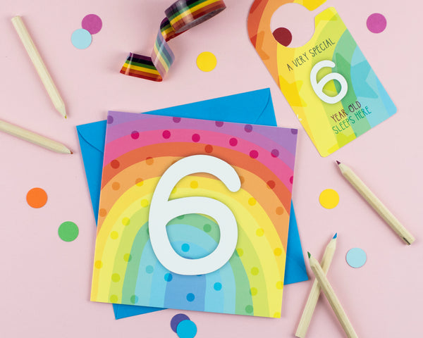 Six year old birthday card with Cut out crafty activity - Two For Joy Illustration