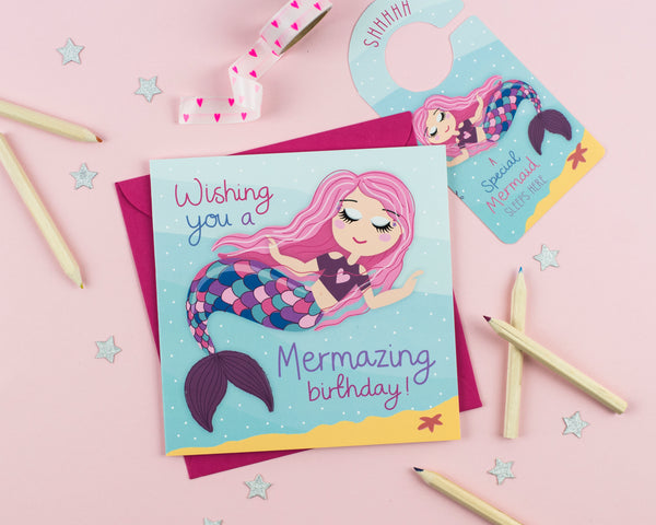 Mermaid Birthday Card with Cut out crafty activity - Two For Joy Illustration