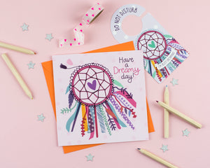 Dreamcatcher Birthday Card with Cut out crafty activity - Two For Joy Illustration