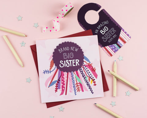 New Big Sister Card with Cut out crafty activity - Two For Joy Illustration