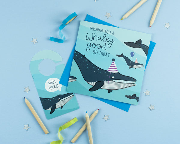 Whaley Good Birthday Card with Cut out crafty activity - Two For Joy Illustration