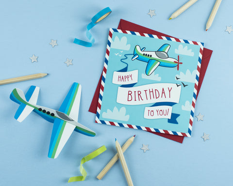 Aeroplane Birthday Card with Crafty Cut Out Activity on back - Two For Joy Illustration