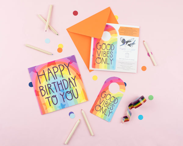 Rainbow Good Vibes Only Birthday Card with Cut out crafty activity - Two For Joy Illustration