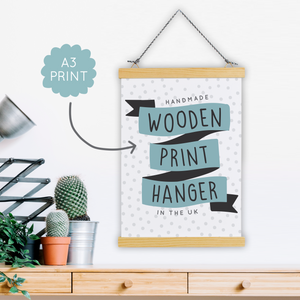 A3 Print Hanger - Wooden & Magnetic - Handmade in the UK - Two For Joy Illustration