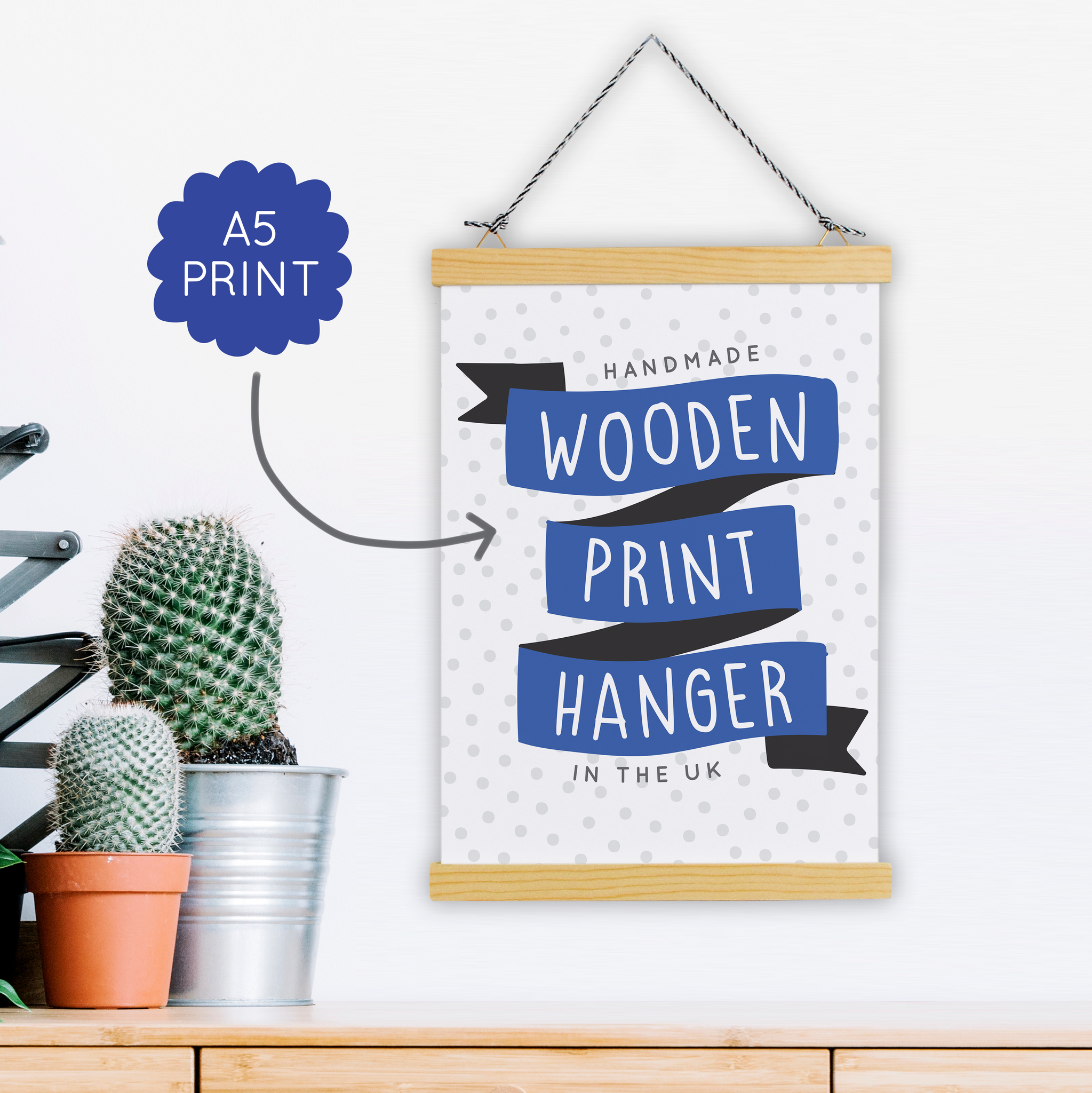 A5 Print Hanger - Wooden & Magnetic - Handmade in the UK - Two For Joy Illustration