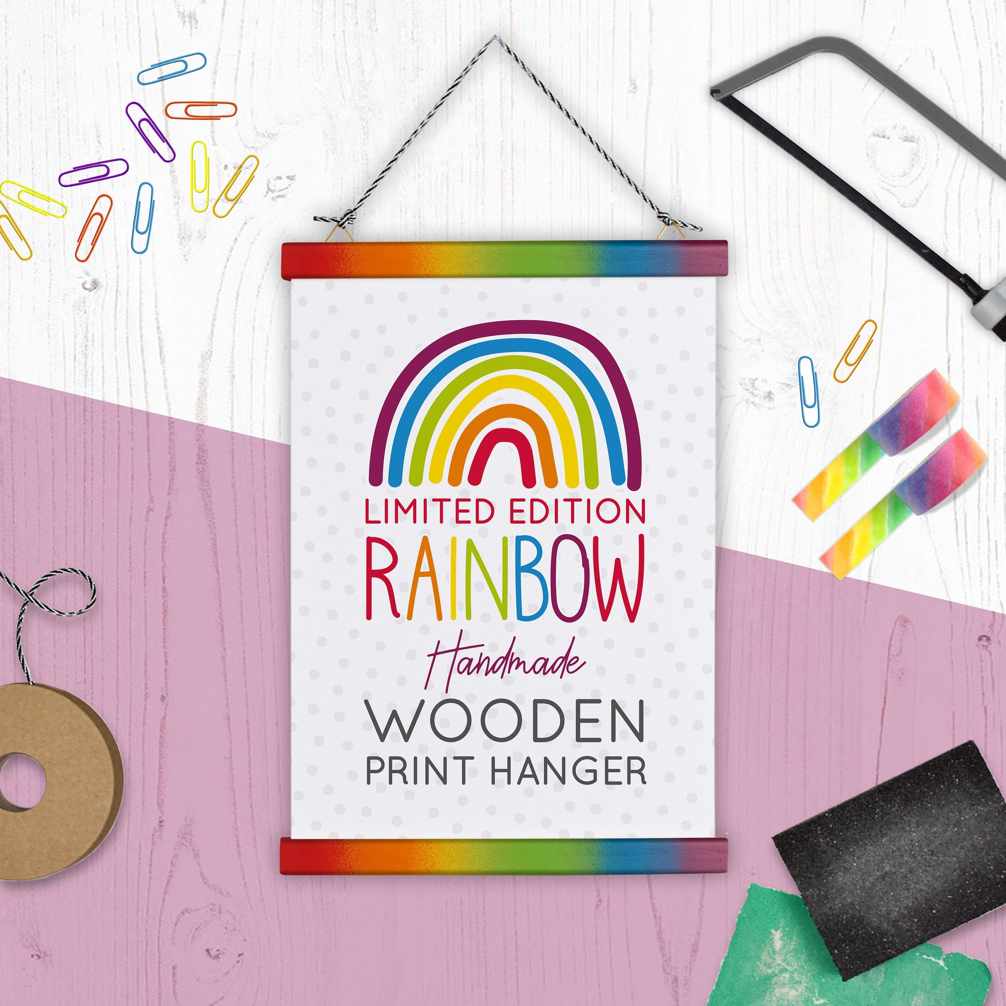 Rainbow Print Hanger - Wooden & Magnetic - Handmade in the UK - A4 A5 A3 - Multi size listing - Two For Joy Illustration
