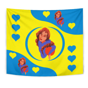 Sport-Club-Girl-01 Yellow and Blue Tapestry