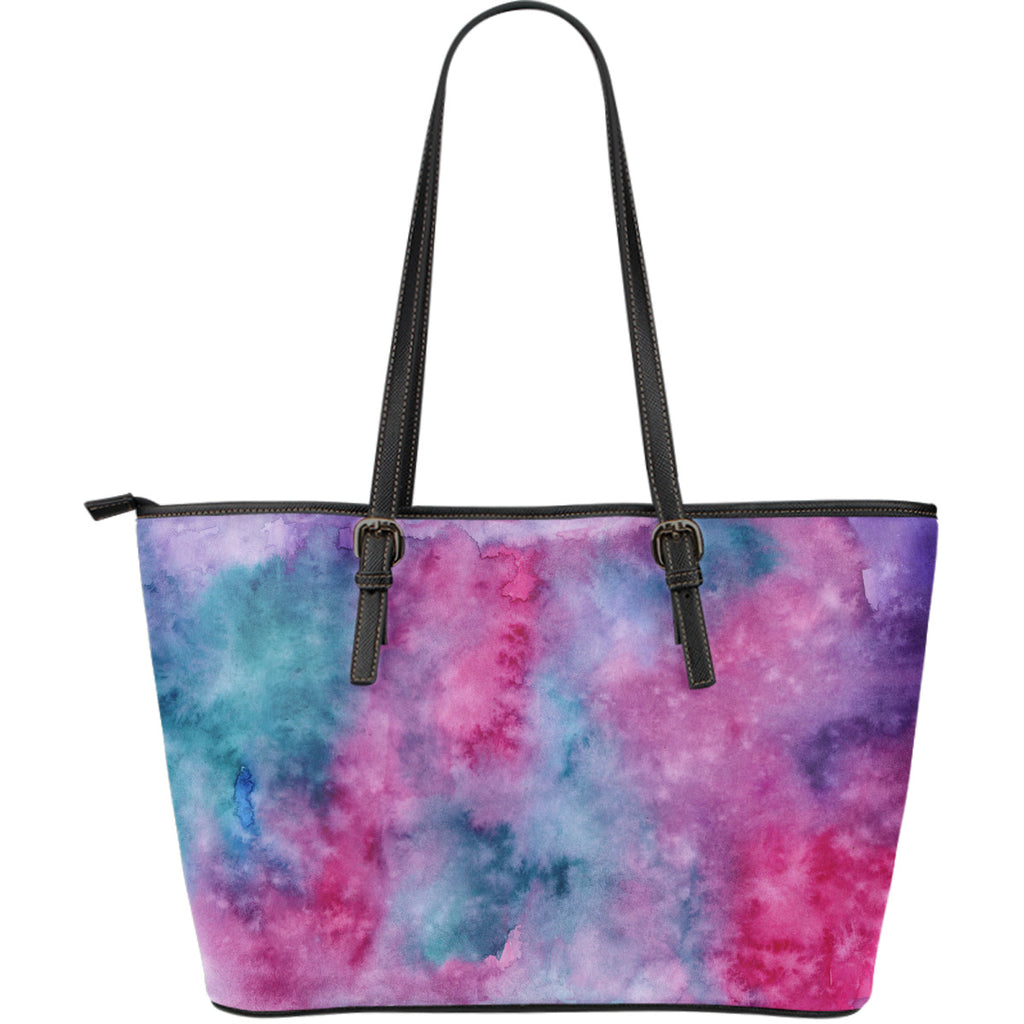 Watercolor Pink Large Leather Tote Bag
