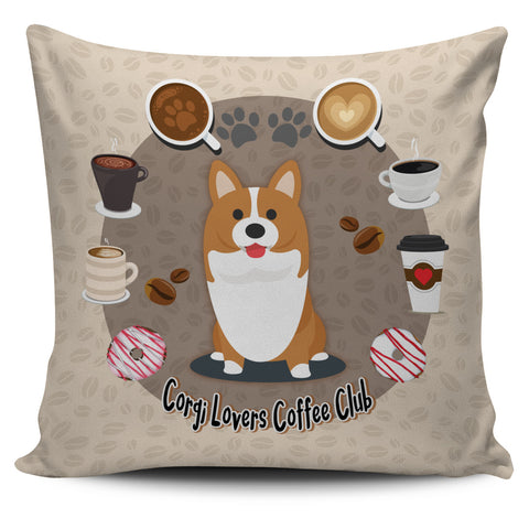Corgi Lovers Coffee Club Pillow Cover Brown